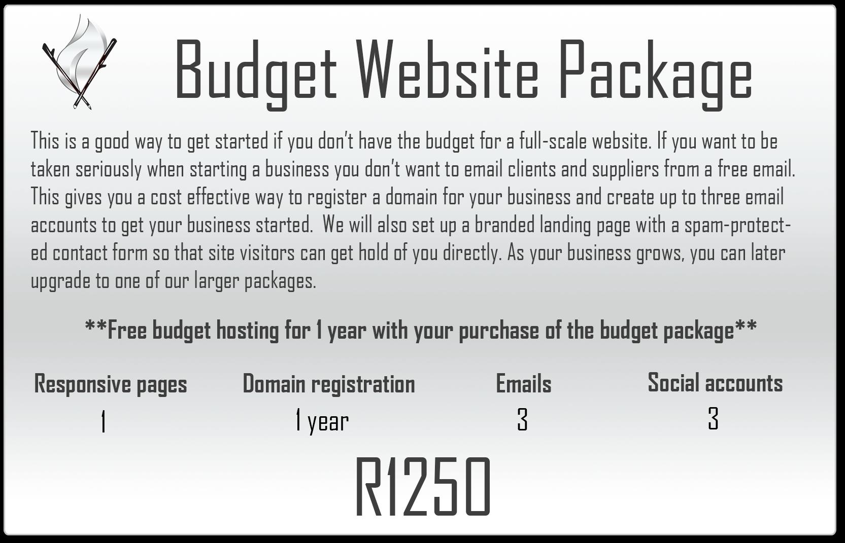 Budget website package - Veldfire Digital